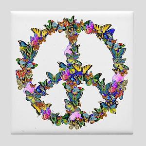 Butterflies Peace Sign Tile Coaster