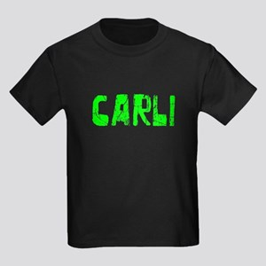 Carli Faded (Green) Kids Dark T-Shirt