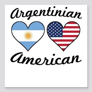 Argentinian American Flag Hearts Square Car Magnet
