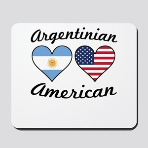 Argentinian American Flag Hearts Mousepad