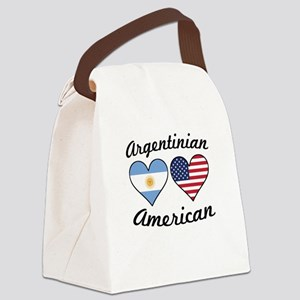Argentinian American Flag Hearts Canvas Lunch Bag