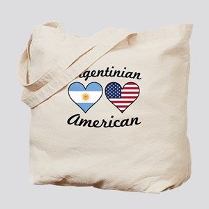 Argentinian American Flag Hearts Tote Bag