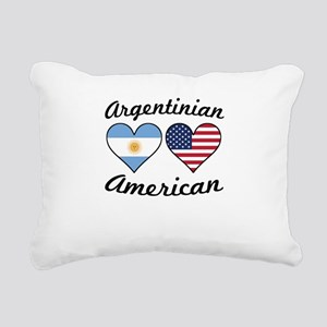 Argentinian American Flag Hearts Rectangular Canva