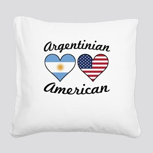 Argentinian American Flag Hearts Square Canvas Pil