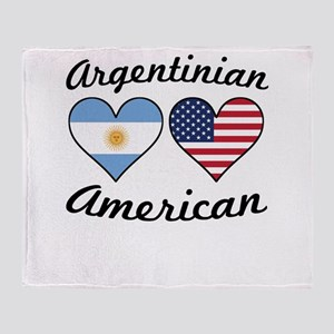 Argentinian American Flag Hearts Throw Blanket