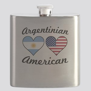 Argentinian American Flag Hearts Flask