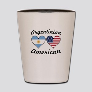 Argentinian American Flag Hearts Shot Glass