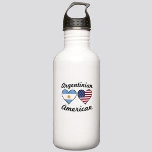 Argentinian American Flag Hearts Water Bottle