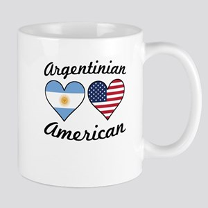 Argentinian American Flag Hearts Mugs