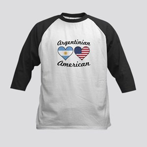 Argentinian American Flag Hearts Baseball Jersey