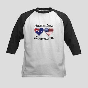 Australian American Flag Hearts Baseball Jersey