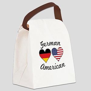 German American Flag Hearts Canvas Lunch Bag