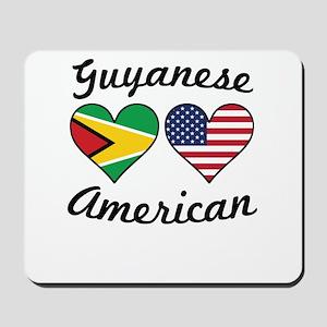 Guyanese American Flag Hearts Mousepad