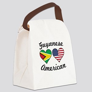 Guyanese American Flag Hearts Canvas Lunch Bag
