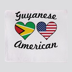 Guyanese American Flag Hearts Throw Blanket