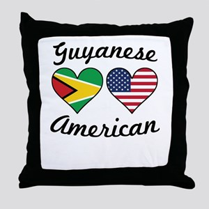 Guyanese American Flag Hearts Throw Pillow