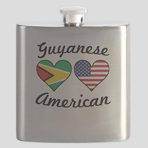 Guyanese American Flag Hearts Flask