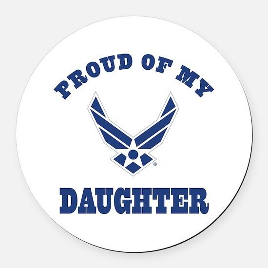 Air Force Daughter Proud Parent Round Car Magnet