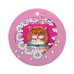 Loves Me Keepsake Porcelain Ornament (Round)