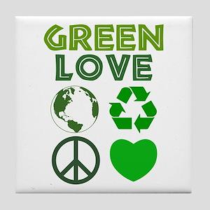 Green Love - Heart 1 Tile Coaster