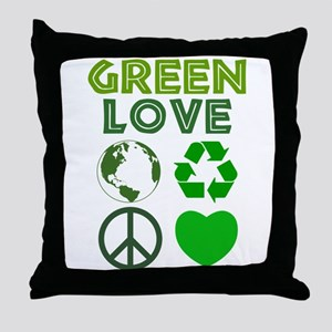 Green Love - Heart 1 Throw Pillow