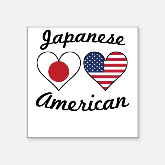 Japanese American Flag Hearts Sticker