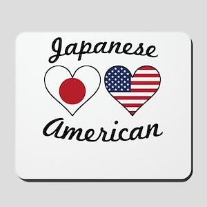 Japanese American Flag Hearts Mousepad