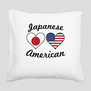 Japanese American Flag Hearts Square Canvas Pillow