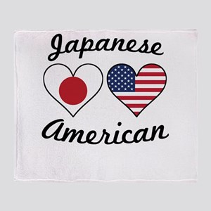 Japanese American Flag Hearts Throw Blanket