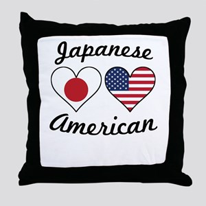 Japanese American Flag Hearts Throw Pillow