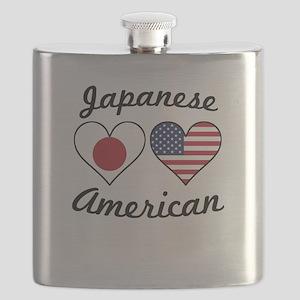 Japanese American Flag Hearts Flask