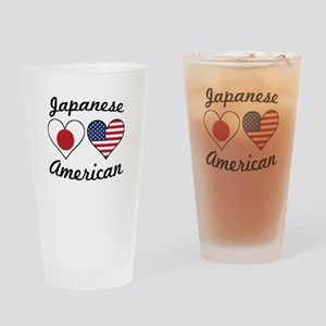 Japanese American Flag Hearts Drinking Glass