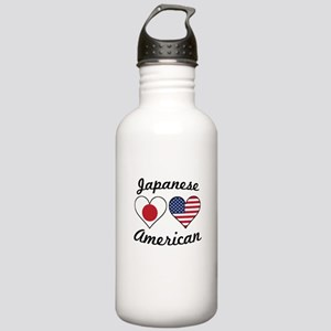 Japanese American Flag Hearts Water Bottle