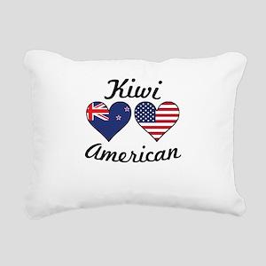 Kiwi American Flag Hearts Rectangular Canvas Pillo