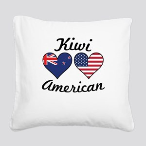 Kiwi American Flag Hearts Square Canvas Pillow