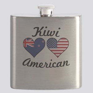 Kiwi American Flag Hearts Flask