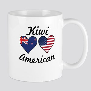 Kiwi American Flag Hearts Mugs