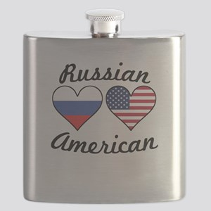 Russian American Flag Hearts Flask