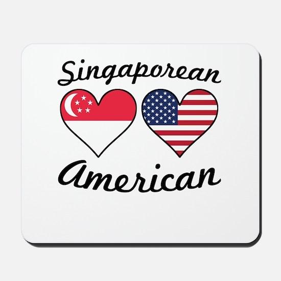 Singaporean American Flag Hearts Mousepad