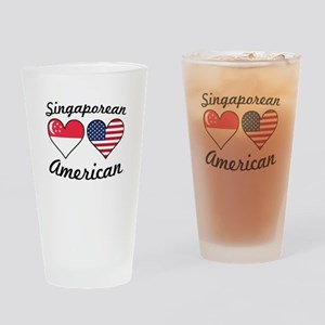 Singaporean American Flag Hearts Drinking Glass