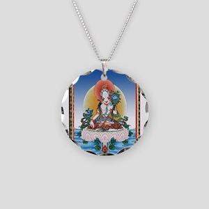 Thangka White Tara Tattoo Ar Necklace Circle Charm