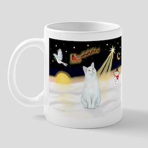 Night Flight - White Cat Mug