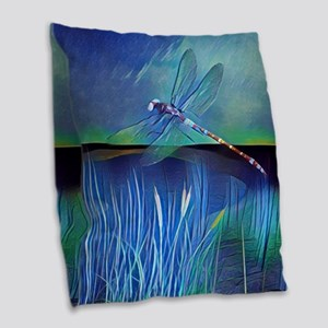 Dragonfly Pond Burlap Throw Pillow
