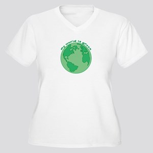 My World Is Green Women's Plus Size V-Neck T-Shirt