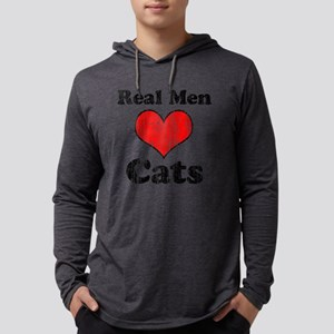 Vintage Real Men heart Cats Long Sleeve T-Shirt