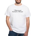 I Survived Catholic School White T-Shirt