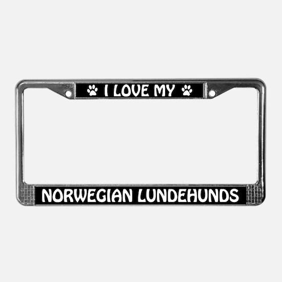 I Love My Norwegian Lundehunds License Plate Frame