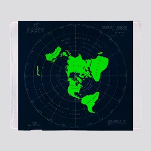 Flat Earth Map Disk Throw Blanket