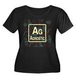 AGNOSTIC RETRO Women's Plus Size Scoop Neck Dark T