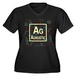 AGNOSTIC RETRO Women's Plus Size V-Neck Dark T-Shi